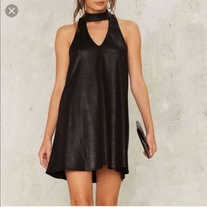 Nasty Gal Twilight Zone Black Metallic Shift Dress